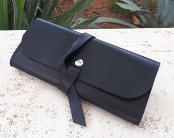 Bag Leather Clutch Wristlet Leather Wallet Small Leather Bag Leather Purse Leather Black Leather Clutch Bag Envelope Clutch Bag Gift for Her