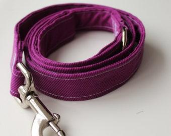 Purple Pinstripe Dog Leash-- 4' length