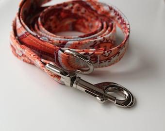 Orange Paisley Dog Leash-- 4' or 6' length