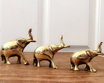 miniature brass elephant set of 3, vintage elephant, elephant decor, pachyderm