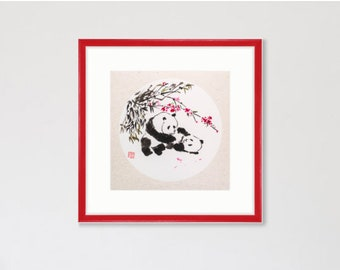 Pandas playing in Chinese Style Sumi-e Watercolor Asian Art Original