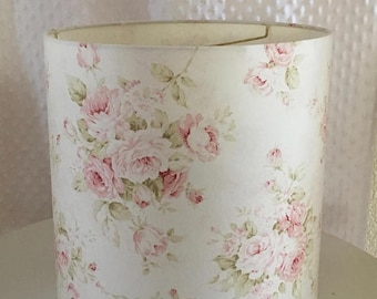 Floral lamp etsy shabby cottage chic floral drum lampshade pink floral lamp shade kids room nursery lampshade girl bedroom custom made to order home decor aloadofball Image collections