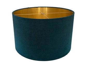 Teal  Velvet Drum Lampshade-Velvet  Lamp Shade- Lampshade-Custom Made-To-Order-Home Decor-Table Lamp-Designer Lampshade-Gold Velvet Decor