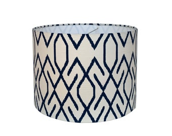 Navy Geometric Drum Lampshade-Shade-Custom Made-To-Order-Home Decor-Table- Lamp Lacefield Zoe Navy Lamp Shade-Designer Lampshade