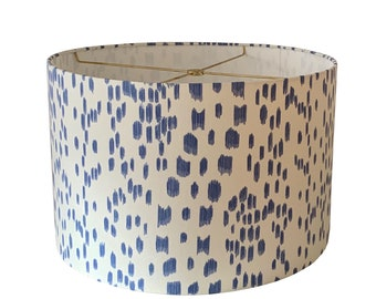 Cadet Blue Les Touches Drum Lampshade-Animal print Lamp Shade-Custom Made-Made To-Order-Home Decor-Table Lamp-High End Lampshade