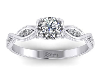 Twist Engagement Ring - 14k White Gold w/ Moissanite - Graduated Side Stones