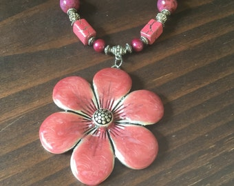 Pink flower with fuschia potato pearls and fuschia crazy lace agate.   A perfect shade of pink for all seasons.  Item #2J07C