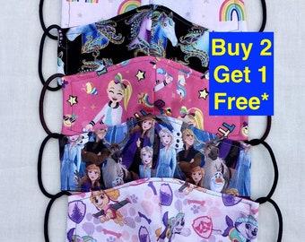 Girls face mask, toddler face mask, made in USA, washable reusable filter mask, Disney Minnie Frozen Paw Patrol JoJo rainbow unicorn mask