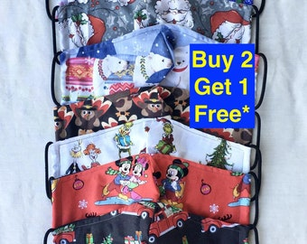 Christmas Face Mask with Filter Pocket   Handmade in Ohio   Double layer   Over 100 designs available   FREE SHIPPING   Quality Construction