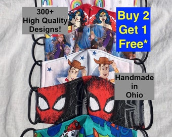 Toddler Face Mask - Child Face Mask - kids Face Mask - Teen Face Mask - princess rainbow paw patrol Mickey cars Spider-Man Mario frozen mask