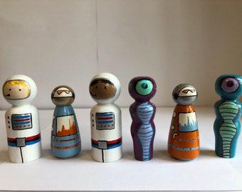 Astronauts Aliens and Robots Handpainted Wooden Peg Dolls