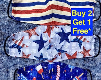 Patriotic Face Mask USA-Holiday Face Mask-July 4th-Independence Day-Fourth of July-Made in USA-Filter Pocket-Cotton Reusable Mask-Child Mask