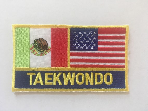 Mexico usa flag and eagle embroidery iron on patch for hat jacket etc