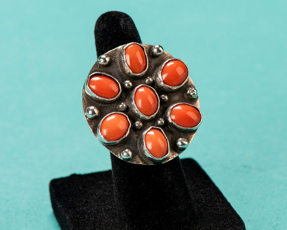 Old Pawn Sterling & Coral Ring