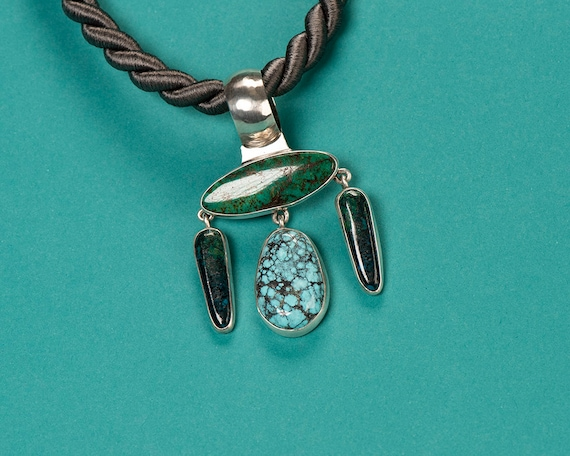 Sterling Turquoise & Forest Green Agate Pendant