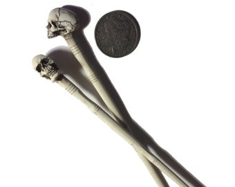 2 Skull Hair Sticks Chopsticks Goth Punk