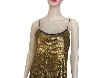 05c577fbe5820 Vintage 1970s Gold Sequined Disco Tank Top