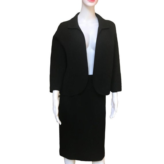 Vintage 1940s Henry Harris Black Knit Skirt Suit