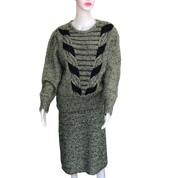 Vintage 1980s Oversized Sweater & Skirt 2-Piece Se