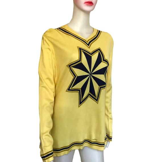 Vintage 1960s Mr Dino Yellow Starburst Blouse Rare
