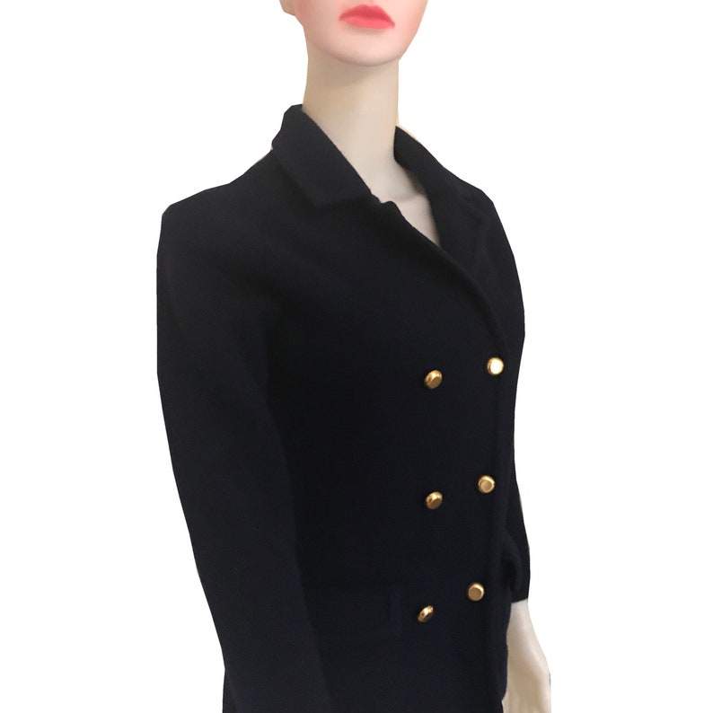Vintage 1970s Navy Blue Military-Style Wool Jacket With Gold Buttons