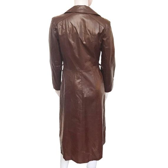 Vintage 1970s Cognac Color Leather Trench Coat - image 3