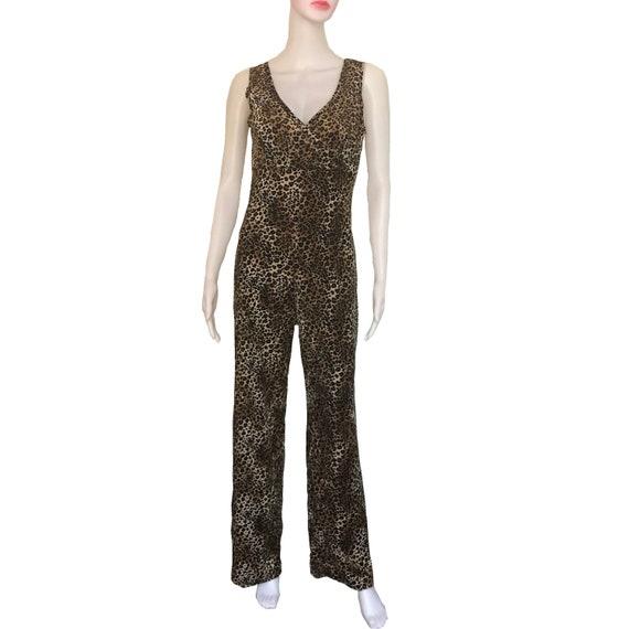 Vintage 1970s Sexy Leopard Print Velour Jumpsuit