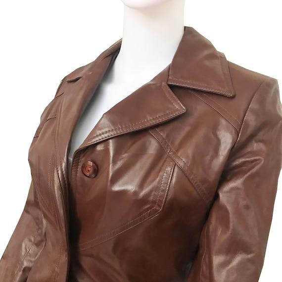 Vintage 1970s Cognac Color Leather Trench Coat - image 4
