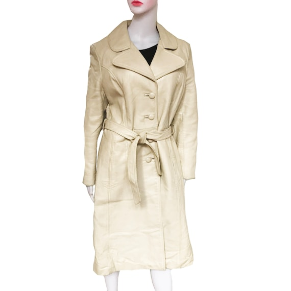 Vintage 1970s Taupe Colored Leather Trench Coat - image 6