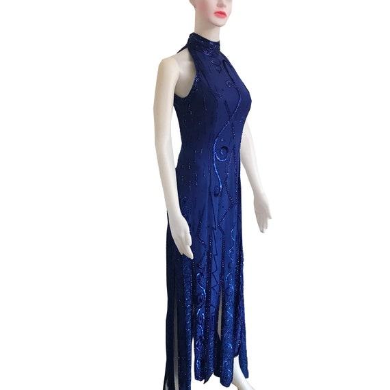Vintage 1980s Lillie Rubin Blue Sequin Halter Dres