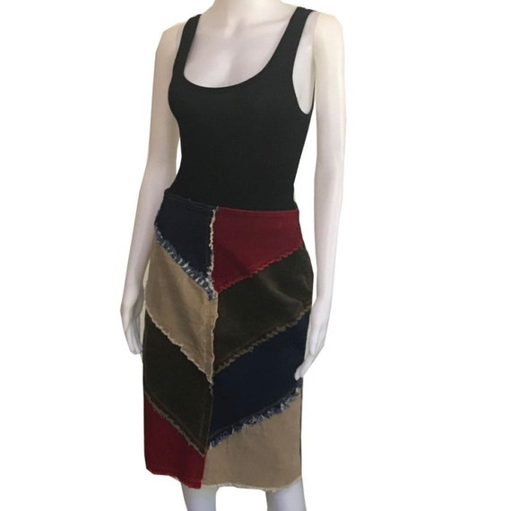 Vintage 1970s Corduroy Patchwork Skirt