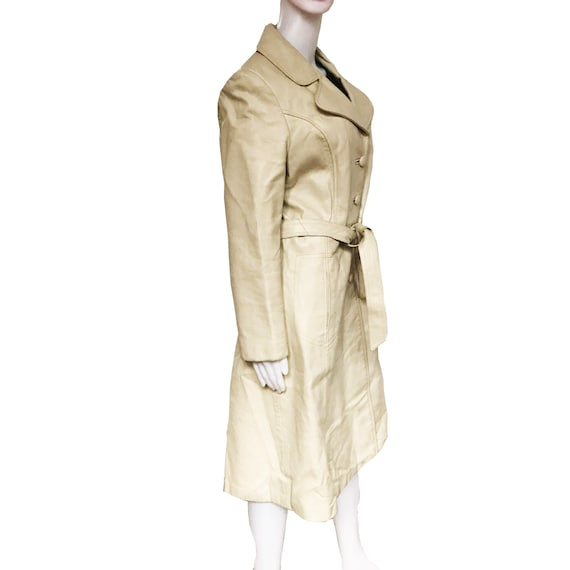 Vintage 1970s Taupe Colored Leather Trench Coat - image 4