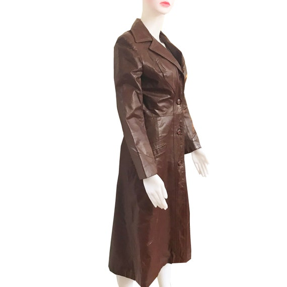 Vintage 1970s Cognac Color Leather Trench Coat