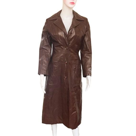 Vintage 1970s Cognac Color Leather Trench Coat - image 2