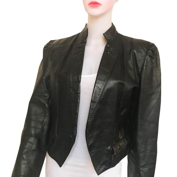Vintage 1980s Wilsons Black Leather Cropped Jacket