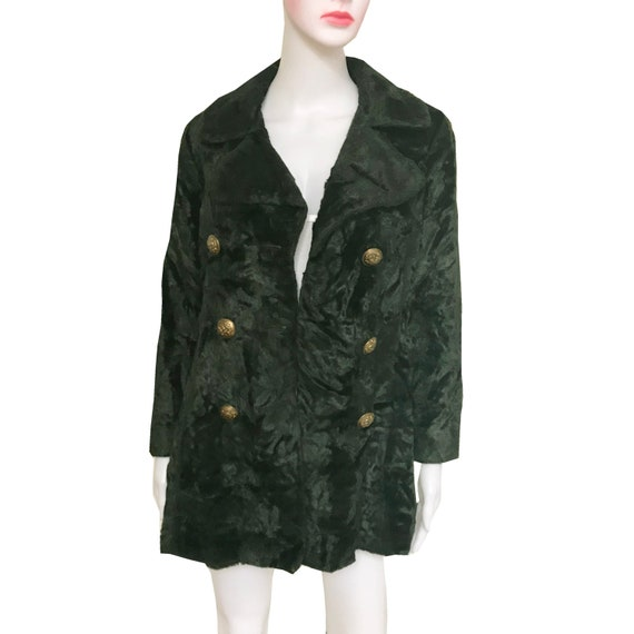 Vintage 1960s Green Crushed Velvet Double-Breasted
