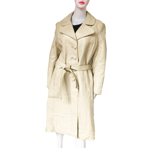 Vintage 1970s Taupe Colored Leather Trench Coat - image 2