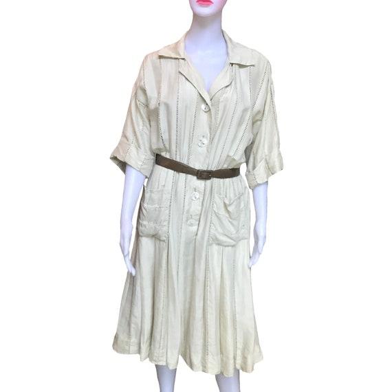 Vintage 1950s Carlye Belted Eyelet Silk Shirtdress