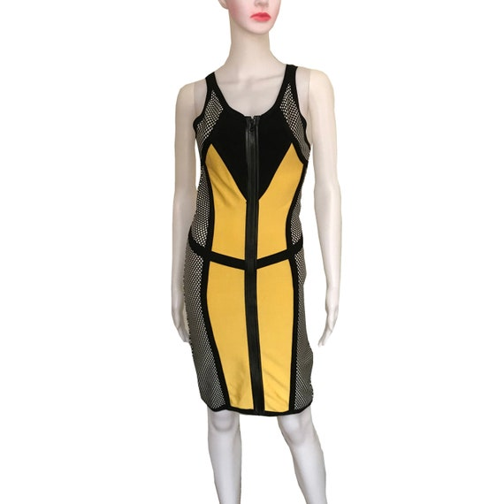 Vintage 1990s Color-Block Bodycon Bandage Dress
