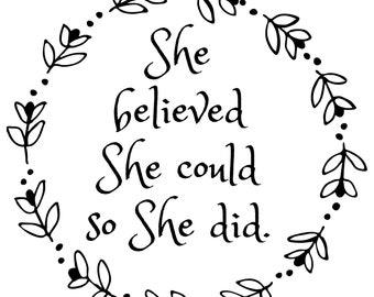 She Believed, Downloadable, Digital, Print file