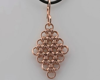 Japanese Pendant-Copper Chainmaille Jewelry-Chainmaile Pendant-Copper Jewelry-Pendants-Necklace Pendants-Maille-Copper Chainmaille-Jewelry