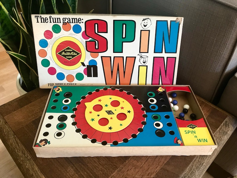 Complete Near Mint Spin 'N Win Warren Games Built Rite 869 Mid Century  Vintage Glass Marbles Board Game Excellent Condition Rare Gift