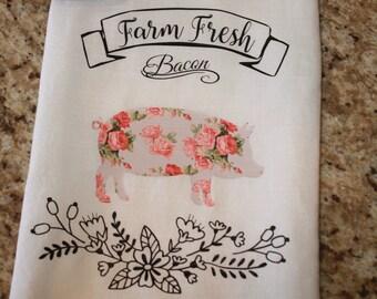 Kitchen Towel, Dish Towel, Flour Sack Towel - Farm Fresh Bacon  - Housewarming - Hostess