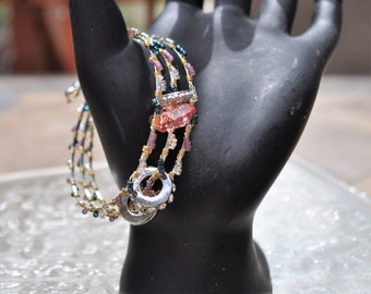 Wire Wrapped Beaded Flat Memory Wire Bracelet/Wrap Bracelet/European Style Charm Wrap Bracelet