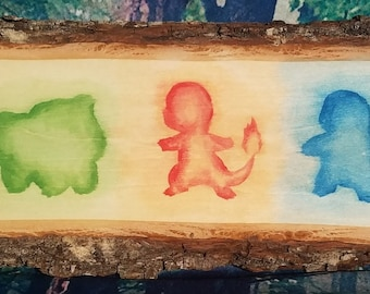 Wooden Painting • Pokemon Kanto Starters • Bulbasaur • Charmander • Squirtle •  Pokemon GO • Gift • Natural Rustic Wall Display