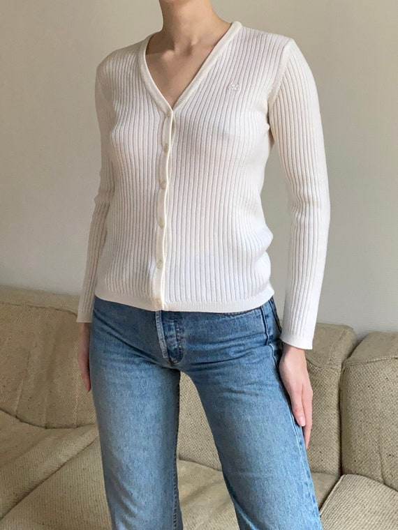 Late 1990s Courrèges ivory ribbed knit cardigan xs