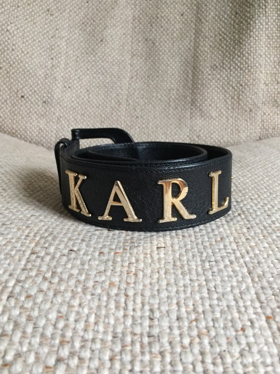 Vintage Karl Lagerfeld black caviar belt 1980s 199
