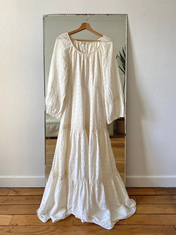 1970s broderie anglaise long dress xs