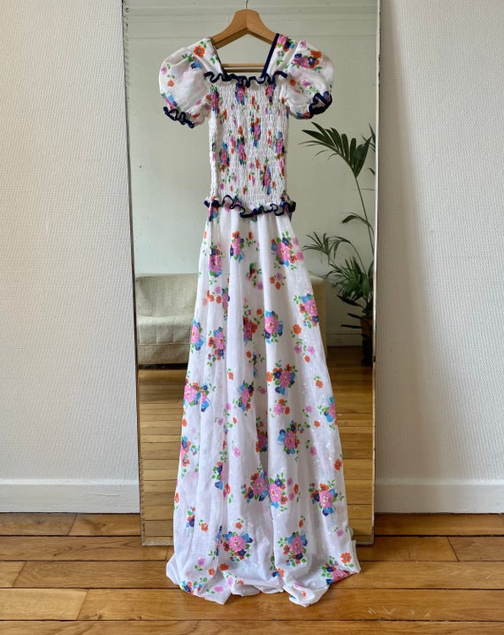 1970s handmade smocking long floral dress xs
