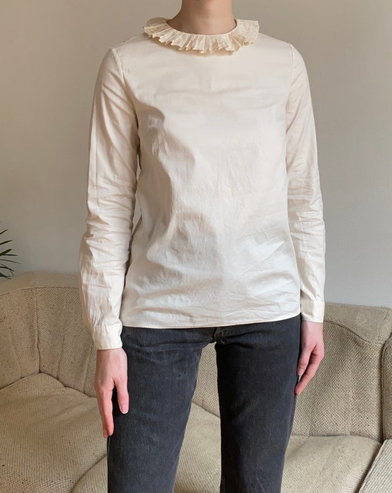 APC pierrot collar cream cotton shirt xs